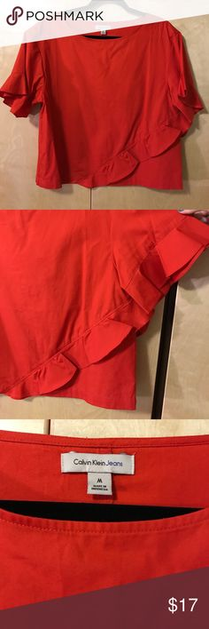 Calvin Klein Top Rusty red color, worn once, ruffle details Calvin Klein Jeans Tops Blouses