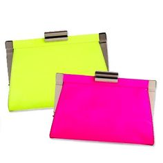 pink or yellow neon bag / clutch / pochette jaune fluo ou rose fluo / neon