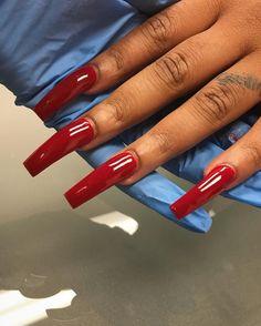 Nails on Black Women Red Acrylic Nails, Acrylic Nail Designs, Nail Swag, Aycrlic Nails, Coffin Nails, Fire Nails, Dream Nails, Finger, Birthday Nails