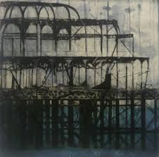 drypoint on acetate - the ruins of the old Brighton Pier