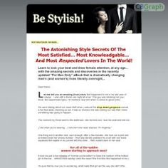 "New, Untapped Niche, Complimentary To The Seduction Niche. Promote ""being Stylish For Men"" To Every Pua Out There! See more! : http://get-now.natantoday.com/lp.php?target=bestylish"