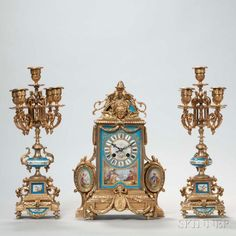Three-piece Japy Freres Gilt-bronze and Porcelain-mounted Clock Garniture, France, 19th century, the clock case adorned with