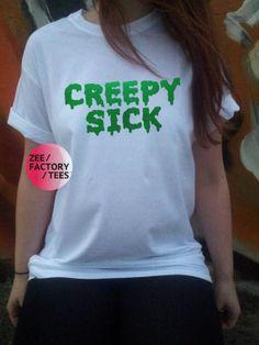 CREEPY SICK white shirt green metallic vinyl by ZEEFACTORYTEES, £8.99