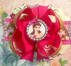 Belle Hair Bow/Princess Belle Girls Hair Bow/Beauty Hair Bow/Girly Curl Bow/Disney Princess Belle Bow/Disney Inspired Bow/Boutique Party Bow by GirlyCurlBowtique on Etsy