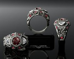 White Gold & Ruby Diamond Engagement Ring European by DeMerJewelry, $16211.00