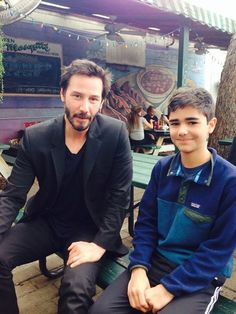 Thnx Jason Crouch on FB Sunday April 12, 2015. Just a quiet afternoon lunch with family and friends at the Green Mesquite. Pictured: my son Isaac and old pal Keanu Reeves.