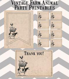 Vintage Farm Animal Party Printables