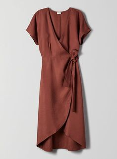This is a long, classic wrap dress with a plunging v-neckline and a dolman sleev. - - This is a long, classic wrap dress with a plunging v-neckline and a dolman sleeve. It& made with a TENCEL®-linen blend fabric that has a natural . Elegant Dresses, Casual Dresses, Classic Dresses, Looks Street Style, Linen Dresses, Wrap Dresses, Linen Summer Dresses, Dresses Dresses, Dance Dresses