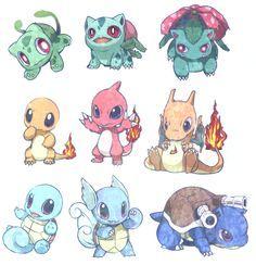 Pokemon - Bulbasaur, Ivysaur, Venusaur, Charmander, Charmeleon, Charizard, Squirtle, Wartortle, Blastoise