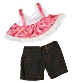 "Flower Tunic w/Denim Pants Teddy Bear Clothes Outfit for all fun activities.  Fits most 14"" - 18"" stuffed animals including Build-A-Bear, Vermont Teddy Bear, Animalland, Nanco, Ganz, Bear mill, Teddy Mountain and more."