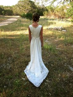 70's Bohemian Wedding Dress  Crocheted Handmade by StrayCatBooth, $200.00