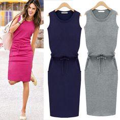 Vestido sem mangas casuais, mulheres verão tendência Slim cinza com cinto lápis vestidos roupas China 5069