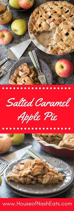 Salted Caramel Apple Pie is a scrumptious twist on a classic dessert with a buttery, flaky crust, sweet & salty caramel sauce, and cinnamon spiced apples.  Perfect for Fall and using up all the amazing apples from u-pick apple orchards!