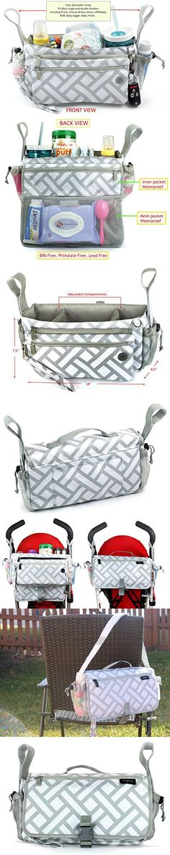 Anvy & Me Touring Universal Stroller Organizer Double Use: Elegant Organizer For Stroller & On The Go Travel Diaper Bag (Parquet Ways)