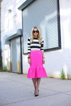 Hot pink skirt + stripes | Atlantic-Pacific