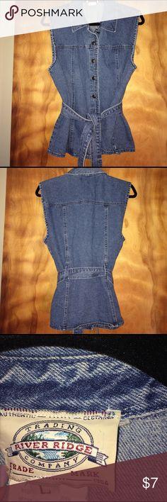 Denim vest Belted denim vest   Bought at Dillard's river ridge trading co Jackets & Coats Vests