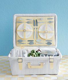 Paper construction of picnic basket by Matthew Sporzynski