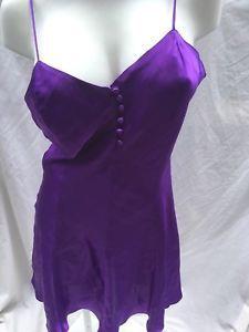 a4755b1ef18 Details about Vintage Claudine Bueche Sz L Bias Cut Royal Purple Liquid  Satin Babydoll Nighty