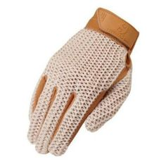 The Heritage Crochet Riding Glove features a soft cotton mesh top and genuine leather palm. The glove is a classic style glove for warm weather riding and is a good all around glove for schooling or pleasure riding.