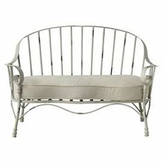 """Windsor-style bench with distressed metal frame and seat cushion.Product: BenchConstruction Material: Metal and fabricColor: Distressed greyFeatures:   5"""" Cushion seat  Comfortable rolled edges       Dimensions: 34.5"""" H x 54"""" W x 26"""" D"""
