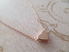 Rose gold heart necklace...dainty handmade by TiffanyAvenueBridal