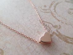 Rose gold heart necklace...dainty handmade by TiffanyAvenueBridal