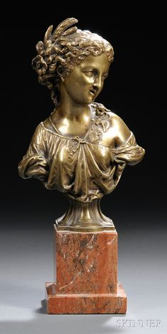 *Continental School, 19th/20th Century Classical-style Bronze Bust of a Maiden