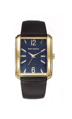 Reloj de caballero en tres agujas. Caja en IP Dorado, esfera rectangular en color azul y correa marrón. Impermeable 30 metros (3ATM).