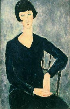 Seated woman in blue, 1919 -- MODIGLIANI, Amedeo : 1884-1920 : Italian | Photo Credit: [ The Art Archive / Moderna Museet Stockholm / Gianni Dagli Orti ] MONDADORI PORTFOLIO/Picture Desk Images