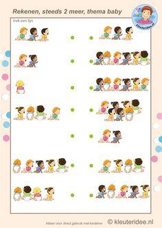 Steeds twee meer baby's, rekenen met kleuters, Kindergarten math, two more babies, baby theme, free printable.