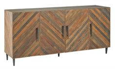A pleasing variation of reclaimed Natural wood is repurposed in the Constantine Credenza. Narrow slats are thoughtfully configured at an angle to create a geome