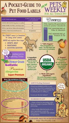 Pocket-guide to pet food labels from PetsWeekly. A great reference when shopping for your furry friends!