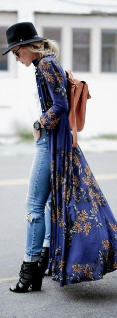 boho spring kimono/sweater with black hat