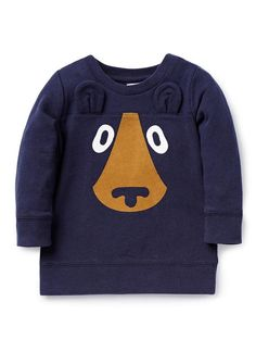 French terry sweater with ribbed neck, cuffs and hem. Features bear face print on front with novelty ears. Regular fitting silhouette with snaps on baby's left shoulder for easy dressing. Available in Midnight Blue. Baby Boy Tops, Baby Boy T Shirt, Trendy Baby Boy Clothes, Baby Kids, Baby Outfits, Outfits Niños, Kids Outfits, Boys Winter Shirts, Boys T Shirts
