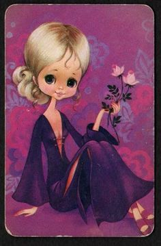 Vintage Swap Card Pretty Girl in Purple BLANK BACK | eBay