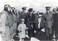 """The Royal Family paid several visits to """"Little Norway"""" during the war. In the caption above Prince Harald visits the camp in Toronto together with his mother, Crown Princess Märtha. Behind the Prince is Major Odd Bull (later Lt.Gen.). On the right is General C.G. Fleischer, former Commander-In-Chief of the Norwegian Armed Forces."""