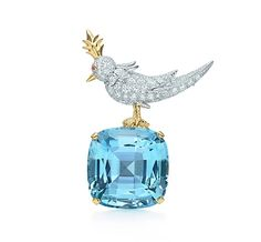 Tiffany & Co. | Item | Jean Schlumberger mini Bird on a Rock clip with an aquamarine in platinum. | United States