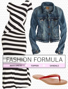 DKNYC Short-Sleeve Striped Maxi Dress, $120; Macy's. Faded Denim Jacket, $49.95; American Eagle. Mazzy Flip Flop, $39.50; Banana Republic.   - Redbook.com