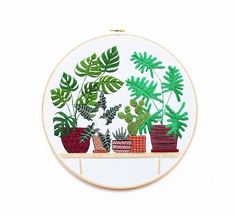 Sarah K. Benning's Meticulously Embroidered Houseplants