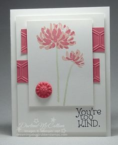 handmade greeting card ... great design ... focus panel with double stamped flowers ,,, pink inks .,,, great card ... Stampin' Up!