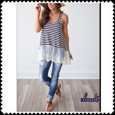 Gorgeous ~ Navy /Ivory Striped Lace Hem top NEW Perfect weekend glam easy wear ;).. Throw on your boyfriend jeans & sandals ! Simply gorgeous & classic stripes in Navy & Ivory with Lace Hem. Size: SMALL MEDIUM LARGE. PLEASE DO NOT PURCHASE THIS LISTING but please specify size & I'll create separate listing. Brand new no tags. Price firm unless bundled. ❌NO PP AND NO TRADES❌ Cloud 9 Tops
