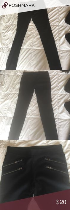 Leggings with moto style From Express. Size small black with zipper pockets worn once perfect condition Express Pants Leggings