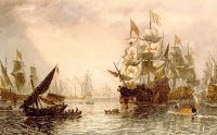John Carmichael - Men-of-war and other Shipping off Portsmouth Harbour 1848 British Marine, Portsmouth Harbour, Man Of War, Fishing Boats, Sailing Ships, Oil On Canvas, History, Pita, Painting