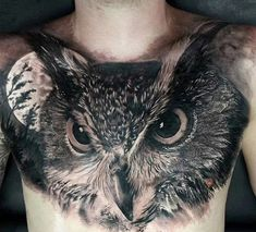 Awesome Owl Tattoo Design For All Time, In respect to placement, owl tattoos are incredibly flexible. If you're selecting an owl tattoo, you're probably going to have to discover the ideal d. Owl Tattoo Chest, Mens Owl Tattoo, Cool Chest Tattoos, Cool Tattoos For Guys, Great Tattoos, Trendy Tattoos, Beautiful Tattoos, Spine Tattoos, Men Tattoos