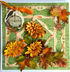 Fall is in the air! - and Susan Tierney-Cockburn has captured it with this amazing autumn card! Recreate the card with Garden Notes - Chrysanthemum, Susan's Garden - Woodland Leaves, and Els van de Burgt Studio - Fitted Frames 4 Curvy Squares. Use her Tool Set, Molding Pad, Leaf Pad, and PanPastels to create the Chrysanthemum and the Woodland Leaves. Find the supplies here: http://www.elizabethcraftdesigns.com/collections/susans-garden