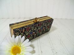 Retro Brocade Hinged Evening Bag Clutch  Vintage by DivineOrders