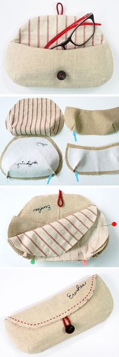 Sewing Tutorials Free DIY Glasses Case Sewing Tutorial free Pattern Nossa, tava precisando de um desses - How to sew an easy Glasses case, Eyeglasses and Sunglasses case Sewing Basics, Sewing Hacks, Sewing Tutorials, Sewing Crafts, Sewing Patterns, Sewing Tips, Diy Crafts, Tutorial Sewing, Quick Crafts