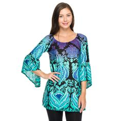 This bell sleeve tunic can be worn on or off the shoulder.