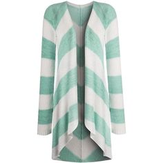 Simply Be Stripe Waterfall Cardigan ($40) ❤ liked on Polyvore featuring tops, cardigans, sweaters, outerwear, jackets, green striped cardigan, green top, stripe top, cardigan top and pastel tops