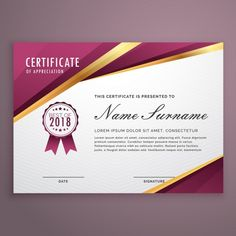 Luxurious certificate Free Vector   Certificate   Pinterest     Certificate with golden elements Free Vector